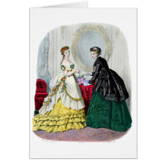La Mode Illustree Green and Yellow Gowns Greeting Card