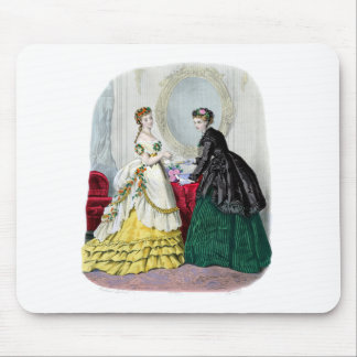 La Mode Illustree Green and Yellow Gowns Mouse Pad