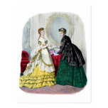 La Mode Illustree Green and Yellow Gowns Postcard