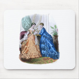 La Mode Illustree Peach and Blue Gowns Mouse Pad