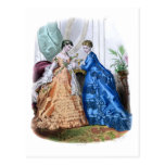 La Mode Illustree Peach and Blue Gowns Postcard
