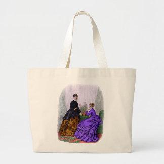 La Mode Illustree Purple and Rust Gowns Canvas Bag