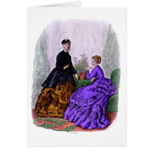 La Mode Illustree Purple and Rust Gowns Card