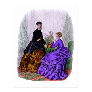 La Mode Illustree Purple and Rust Gowns Postcard
