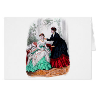 La Mode Illustree Seafoam and Ruby Gowns Greeting Card