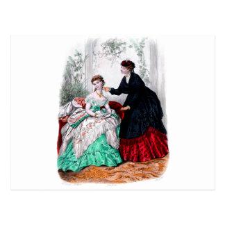 La Mode Illustree Seafoam and Ruby Gowns Postcard