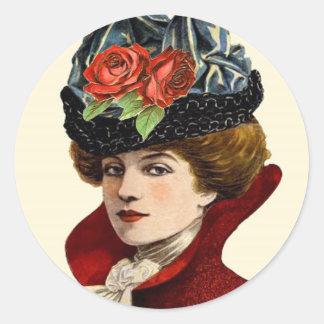 La Mode Lady In Red Classic Round Sticker