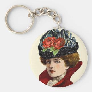 La Mode Lady In Red Keychain