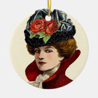 La Mode Lady In Red Ornament