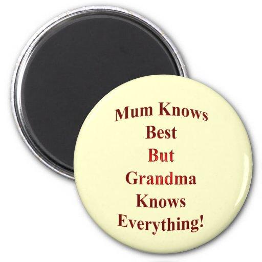¡La momia sabe mejor pero la abuela sabe todo! Imán Redondo 5 Cm