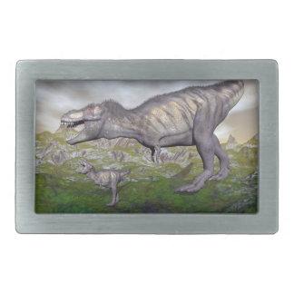 La momia y el bebé 3D del dinosaurio del rex del Hebilla Cinturón Rectangular