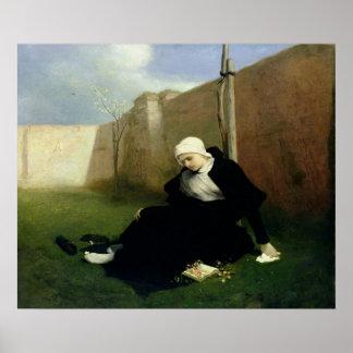 La monja en el jardín del claustro, 1869 póster