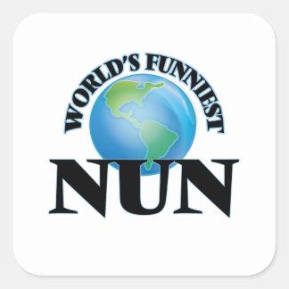La monja más divertida del mundo calcomanías cuadradases