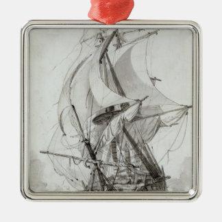 La Montagne, c.1794 (w/c pen & ink) Square Metal Christmas Ornament