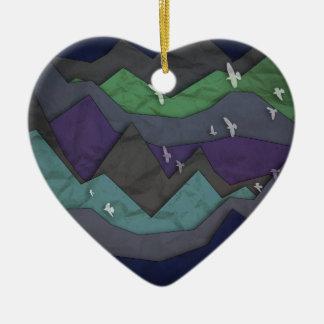 La montaña acoda II Adorno Navideño De Cerámica En Forma De Corazón