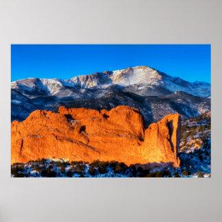 La montaña de América en la salida del sol Póster