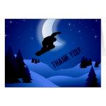La montaña de la snowboard de la noche le agradece tarjeta pequeña