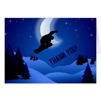 La montaña de la snowboard de la noche le agradece felicitaciones