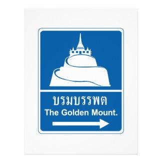 La montaña de oro, señal de tráfico, Tailandia Membrete Personalizado
