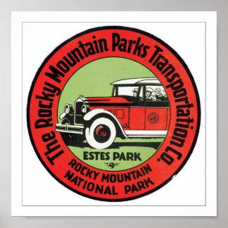 La montaña rocosa parquea el transporte posters