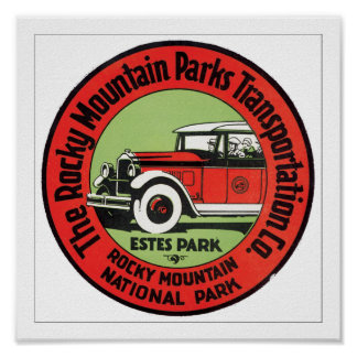 La montaña rocosa parquea el transporte póster
