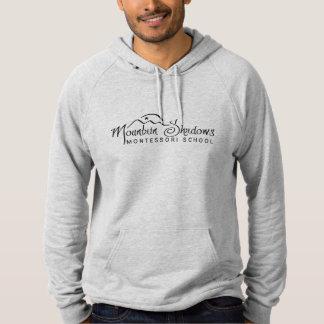 La montaña sombrea el texto del negro de la suéter con capucha