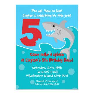 """La mordedura del tiburón invita a la 5ta fiesta de invitación 5.5"""" x 7.5"""""""