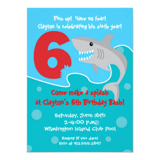 La mordedura del tiburón invita a la 6ta fiesta de invitación 13,9 x 19,0 cm