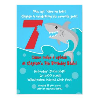 La mordedura del tiburón invita a la 7ma fiesta de invitación 13,9 x 19,0 cm