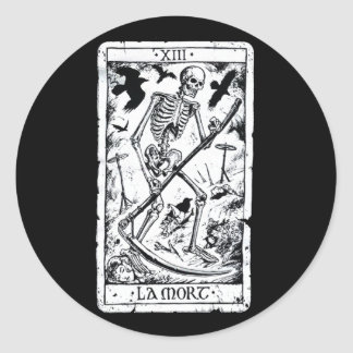 La Mort Tarot Card Classic Round Sticker