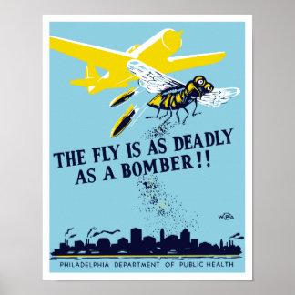 La mosca es tan mortal como un bombardero -- WPA Posters