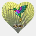 La mosca libera #3 pegatina en forma de corazón