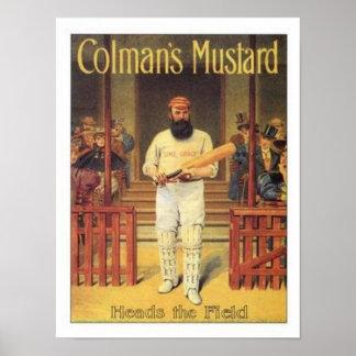 La mostaza de Colman del vintage dirige el grillo Poster