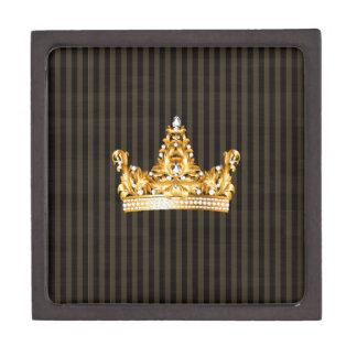 la mostaza morena del oro de la corona raya al cajas de regalo de calidad