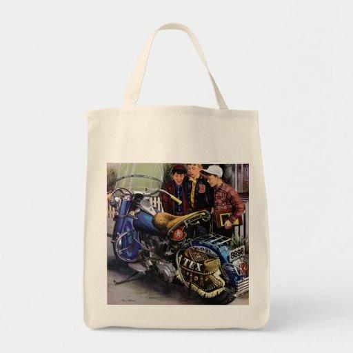 La motocicleta de Tex Bolsa Tela Para La Compra