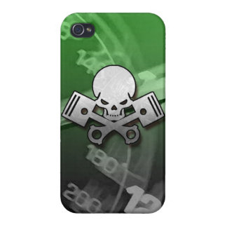 La motocicleta fresca del coche del cráneo y del p iPhone 4 cobertura