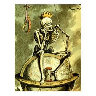 La muerte conquista el globo tarjeta postal