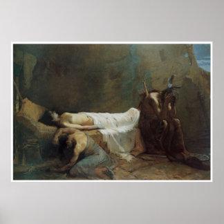 La muerte de Minnehaha, 1885, oeste americano Póster