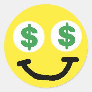 La muestra de dólar observa al pegatina