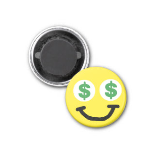 La muestra de dólar observa el imán sonriente