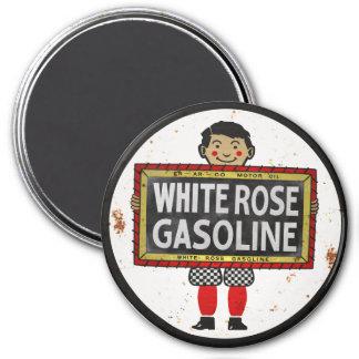 La muestra de la gasolina del rosa blanco aherrumb imán redondo 7 cm