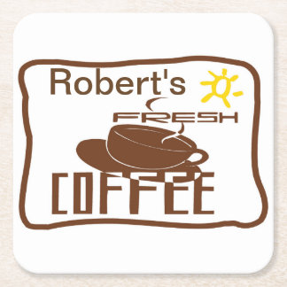 La muestra de la muestra del café añade nombre posavasos desechable cuadrado