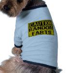 La muestra de la precaución al azar Farts amarillo Camisas De Mascota