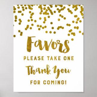 La muestra de los favores del confeti del oro le póster