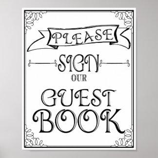 La muestra del boda firma por favor nuestro libro poster