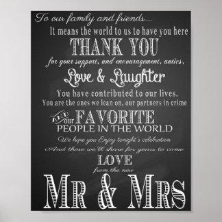 La muestra del boda le agradece pizarra del póster