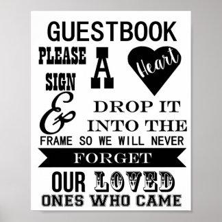 La muestra del Guestbook firma por favor una tabla Póster