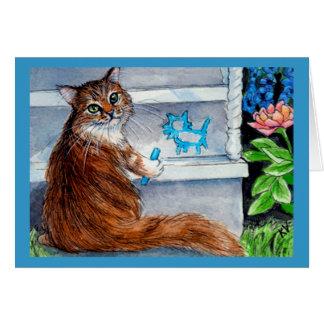 La muestra del hobo del gato, señora buena vive tarjeta pequeña
