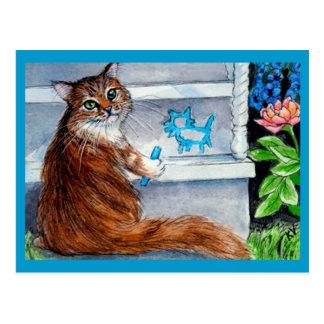 La muestra del hobo del gato, señora buena vive tarjetas postales