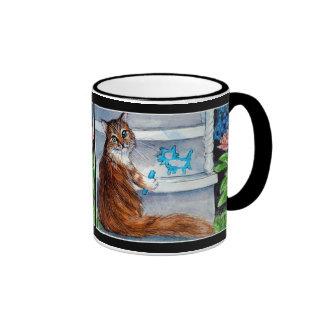 La muestra del hobo del gato, señora buena vive taza a dos colores